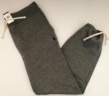 Polo Ralph Lauren Men M NWT $98 Gray Cotton Fleece Sweatpant Pony Ankle Tie NEW