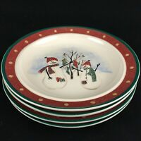 Set of 4 VTG Bread Plates by Royal Seasons Stoneware Snowmen RN2 Christmas