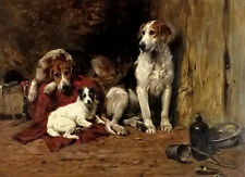 Dream-art Oil painting john emms - hounds and a jack russell in a stable dogs