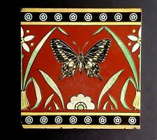 Christopher DRESSER Butterfly Earthenware Tile Minton Victorian Aesthetic M'ment
