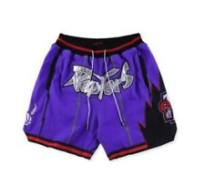 VINTAGE TORONTO RAPTORS BASKETBALL SHORTS PURPLE AND BLACK S-XXL!