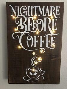 "farmhouse decor ""Nightmare Before Coffee"" Disney LED Sign"