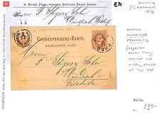 E31 1872 Austria imperio Balcanes tarjeta de papelería Excelente * Windisch Feistritz * Cd