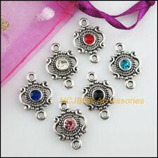 15Pcs Tibetan Silver Tone Blue Turquoise Round Charms Connectors 11x17mm