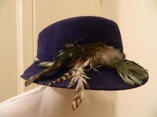 Cappello vintage in lana blu-viola piume dark blu-purple vtg wool hat feathers