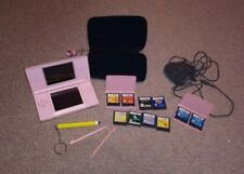 Nintendo DS Lite Pink Handheld System with Charger Case + 10 Games fully Working