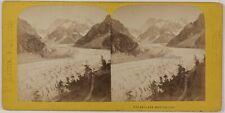Chamonix Mer de Glace Montenvers France Photo Stereo Th1n22 VintageAlbumine