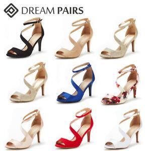 DREAM PAIRS Women Ankle Strap Open Toe Stilettos Heel Wedding Party Heel Sandals