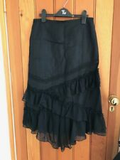 petite black linen viscose blended gothic floaty tiered skirt 10 new