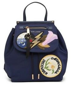 NWT Marc Jacobs Embroidered Patch Backpack Blue MSRP $395 Last One