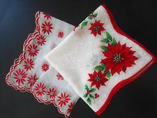 Vtg Ladies Hankies Hanky Handkerchief Lot Of 2 Christmas Holiday Theme,Quilt