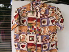 PUPPIES Boy/Girl button-up shirt, puppy buttons Size 1/2 HANDMADE 100% cotton