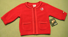 New Roots Girls Red Ruffle Edge Long Sleeves Cardigan