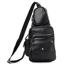 Herren leder Umhängetasche einen Riemen Rucksack ipad bag outdoor Tasche Schwarz
