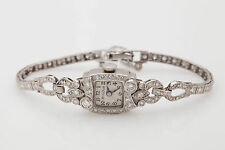 Antique 1920s $7000 2ct VS G Diamond BULOVA Platinum Ladies Watch NICE!!!