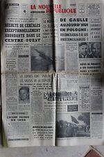 LA NOUVELLE REPUBLIQUE 6 SEPT 1967 - DE GAULLE POLOGNE MAO TSE TOUNG