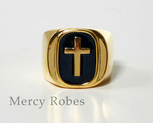 Men's Pastors Clergy Ring, Cross, Yellow Gold Finish, Religious (SUBS873 GB)