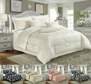 Luxury Jacquard Quilted Comforter Bed Set 7 PCs Bedspread Pillow Sham Cushions