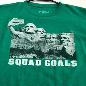 Mount Rushmore Presidents Selfie Squad Goal Kids Graphic T Shirt Large L Green