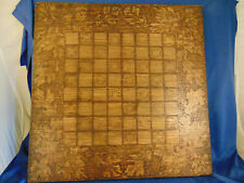 """Handcrafted wood chess checker board game top 20"""" x 20"""" leaf antique"""