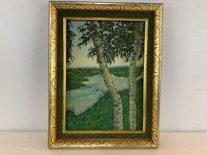 Vintage Island Landscape with Boat Oil Painting on Board Framed Signed Ethel