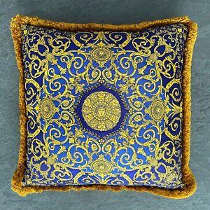 "GIANNI VERSACE pillow silk fringed Golden Vanitas & Ivy 16"" ss 1997 red blue"