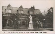 Real photo rugby art museum and statue of judge hughes WHS