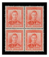 New Zealand 1938 KGVI 1d Scarlet SG605 Block of 4 Stamps MVLH/MUH 9-6
