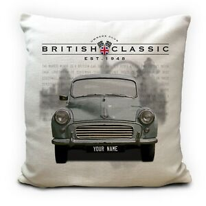 Personalised Morris Minor Classic Car Cushion Cover Gift - Your Name 16 Inch