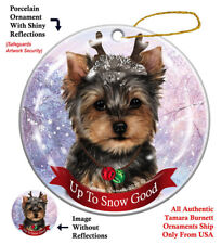 Yorkie Dog Christmas Holiday Ornament Up To Snow Good