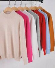 Women's Slim Knitted Half-Turtleneck Cashmere wool Jumper Pullover Soft Sweater