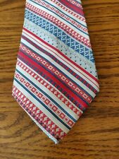 Trevlar 100% polyester Neckwear red white blue gray striped tie EUC