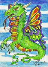 Dragon Butterfly ACEO PRINT EBSQ Kim Loberg mini Bug fantasy Lizard Art Insect