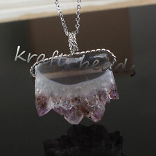 Charm Natural Druzy Amethyst Quartz Crystal Reiki Stone Winding Pendant Necklace