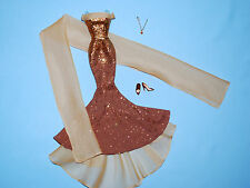 Mermaid Style Copper Gold Dress Gown, Sheer Wrap, Necklace, Shoes Genuine BARBIE
