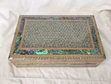 "Egyptian Mother of Pearl Paul Wooden Inlaid Velvet Jewelry Box 10.5 X 6.5"" #121"