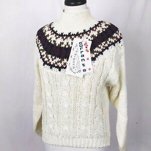 NWT Currants Jeri Jo Womens Medium Fair Isle Nordic Crewneck Sweater Vintage