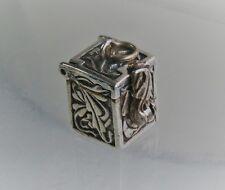 "Pretty 9/16"" Sterling Silver Scroll Prayer Box Opening Charm Pendant"