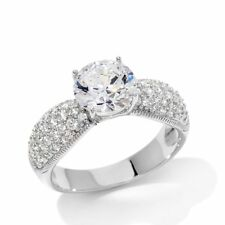 Absolute 2.73 CWT Round Solitaire ring Pavé Sides SIZE 5 SOLD OUT HSN