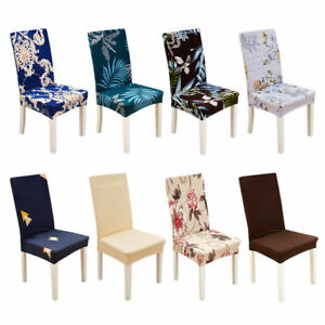 1/4Pcs Spandex Stretch Chair Covers Printed Seat Home Dining Party Slipcovers