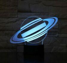 3D Planet Saturn Night Light 7 Color Change LED Desk Lamp Touch Room Decor Gift
