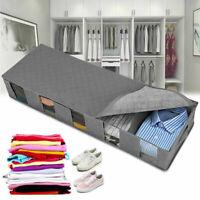 48L Under Bed Storage Bag Box 5 Compartments Clothes Shoes Zipper Organizer Grey