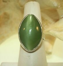 16X26mm Natural Oval Cat's Eye AA Siberian Nephrite Jade 925 Silver Ring 6.5