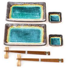 Turquoise Crackleglaze Sushi Plate Set