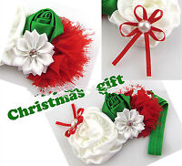 Children Girl Baby Satin Christmas Xmas Tree head  Headband Hair accessory Gift