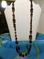 Vtg Lucite Faux Amber Or Tortoise Shell Bead Necklace Flower Clasp Deco Filigree
