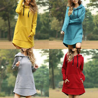 Sweater Pullover Hoodie Dress Hooded Long Sleeve Jumper Sweatshirt Women Tops
