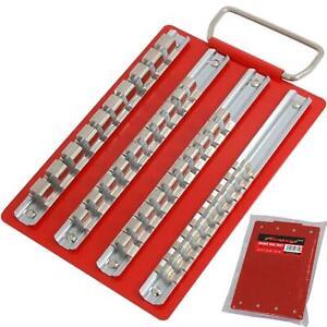 """Neilsen 40pc Small Socket Rail Tray 1/4"""" 3/8"""" 1/2"""" Organiser Storage Holder"""