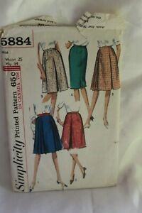 Vintage Simplicity Sewing Pattern 5884 Misses Fitted Skirts 1965 Complete