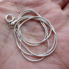 Genuine Solid Sterling Silver 925 Snake Chain Necklace 16 Inch 1mm Thick